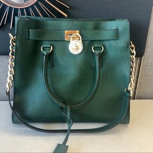 JUST IN Michael Kors Large Hamilton Green  Satchel